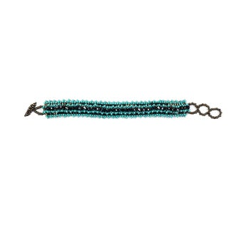 Hand Beaded Turquoise Native Bracelet (Guatemala)