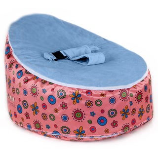 Totlings Snugglish Pink Blossoms with Blue Velvet Top Baby Lounger