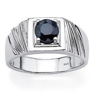 PalmBeach Men's Sterling Silver Midnight Sapphire Ring