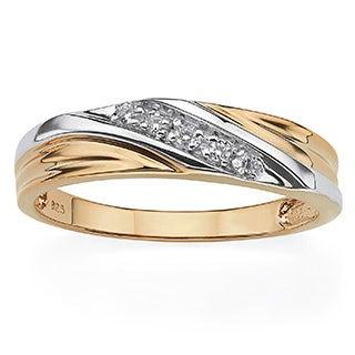 PalmBeach Gold Over Silver Men's Cubic Zirconia Wedding Band
