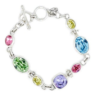 Crystal Peridot, Jonquil Yellow, Rose, Aquamarine and Tanzanite in Sterling Silver Bracelet