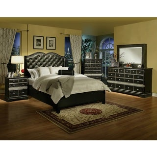 Sandberg Furniture Hollywood Glamour Queen Bed and Nightstands Set