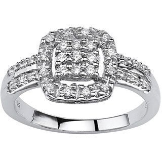 PalmBeach 10k White Gold 1/4ct TCW Round-cut Diamond Halo Ring (H-I, I2-I3)