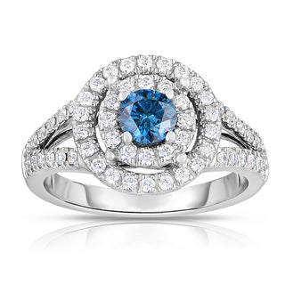 Eloquence 18k Two-tone Gold 1ct TDW Blue Solitaire Double Halo Diamond Engagement Ring (Blue, I1-I2)