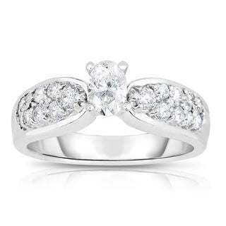 Eloquence Platinum 3/4ct TDW One-Of-A-Kind Oval Cut Diamond Engagement Ring (I-J, I1-I2)