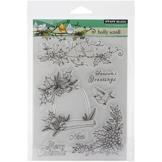 """Penny Black Clear Stamps 5""""X7.5"""" Sheet-Holly Scroll"""