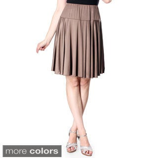 Evanese Women's Shiny Venezian Yoke Skirt with Uneven Pleats