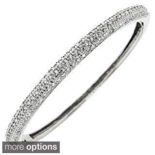 Gioelli Sterling Silver Half-set Cubic Zirconia Bangle Bracelet
