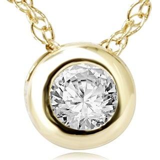 Bliss 14k Yellow Gold 1/4ct Diamond Bezel-set Pendant Necklace (H-I, I1-I2)