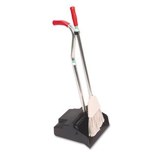 Unger Ergo Dustpan With Broom/ 12 Wide/ Metal with Vinyl Coated Handle/ Black/Silver