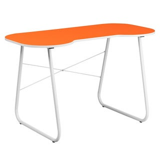 Offex Orange Computer Desk with White Frame