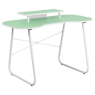 Offex Green Computer Desk with Monitor Stand and White Frame