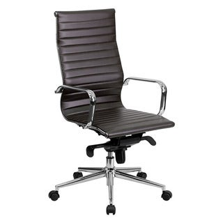 Offex High Back Brown Ribbed Upholstered Leather Executive Office Chair