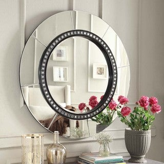 INSPIRE Q Miranda Tile Black Trim Round Accent Wall Mirror