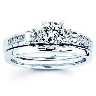 14k White Gold 3/4ct TDW Diamond Bridal Set (I-J, I1-I2)