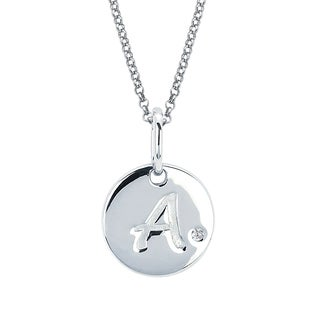 Little Diva Sterling Silver Diamond Accent Initial Disc Necklace