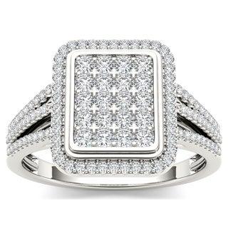 De Couer 10k White Gold 1/2ct TDW Diamond Composite Ring (H-I, I1-I2)