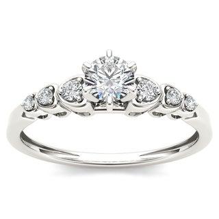 De Couer 10k White Gold 1/3ct TDW Diamond Luscious Solitaire Ring (H-I, I2)