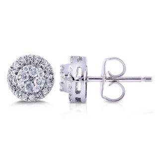 Annello 10k White Gold 1/4ct TDW Diamond Earrings (H-I, I2-I3)