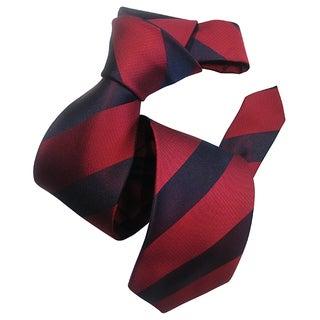 Dmitry Men's Wine Red Striped Silk Tie