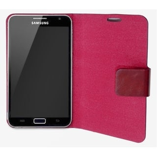 Connectland Red Leather Portfolio Phone Case Stand For Samsung Galaxy Note 5.3-inch