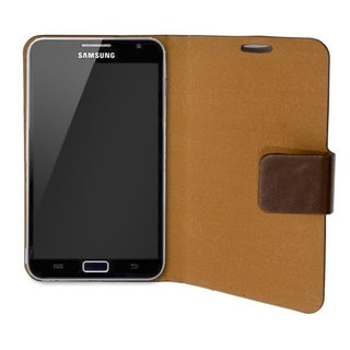 Connectland Brown Leather Portfolio Phone Case Stand For Samsung Galaxy Note 5.3-inch