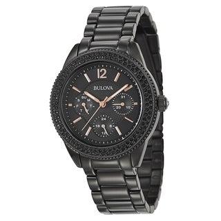 Bulova Women's 'Crystal' Stainless Steel Black Plated Quartz Watch