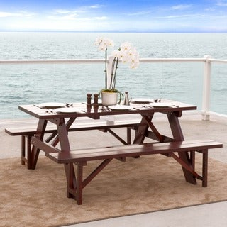 Christopher Knight Home Cinnabar 3-piece Pine Table and Bench Set