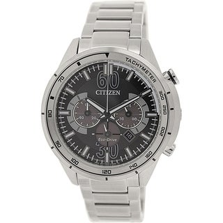Citizen Men's Eco-drive CA4120-50E Silver Stainless-Steel Eco-drive Watch with Black Dial