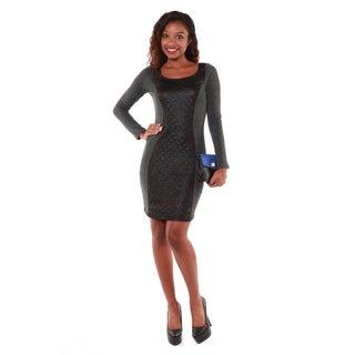 Hadari Women's Black Long Sleeve Leather Panel Dress