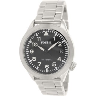 Fossil Men's Aeroflite AM4562 Silver Stainless-Steel Quartz Watch with Black Dial