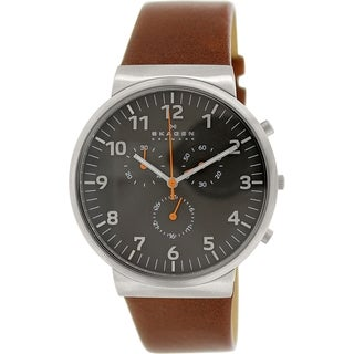 Skagen Men's Ancher SKW6099 Brown Leather Quartz Watch with Grey Dial