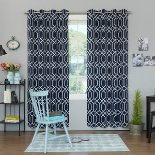 Geometric Trellis Printed Room Darkening Curtain Panel Pair