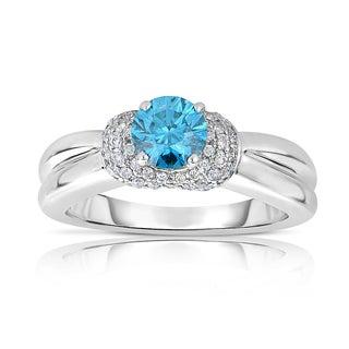 14k White Gold 1ct TDW Blue Solitaire Brilliant Diamond Engagement Ring (Blue, I1-I2)