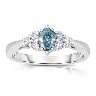 14k White Gold 5/8ct TDW Blue Marquise-cut Diamond Engagement Ring (Blue, I1-I2)