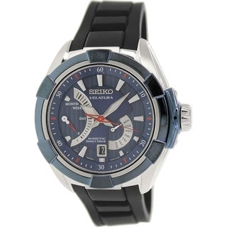 Seiko Men's Velatura SRH017P2 Black Silicone Seiko Kinetic Watch with Blue Dial