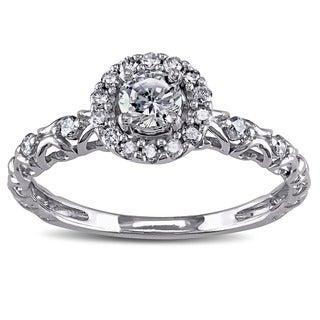 Miadora 14k White Gold Cubic Zirconia and 1/5ct TDW Diamond Halo Engagement Ring (G-H, I1-I2)