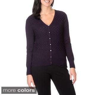 Nancy Yang Fashion Women's Horizontal Stripe Knit Button-down Cardigan