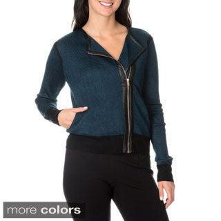 Nancy Yang Sunny Women's Knit Chevron Leather Trim Zip-up Sweater