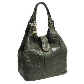 Buxton Fiona Swirl-embossed Leather Hobo Bag