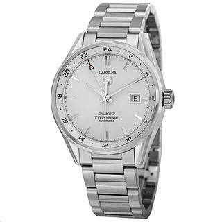 Tag Heuer Men's WAR2011.BA0723 'Carrera' Silver Dial GMT Stainless Steel Watch