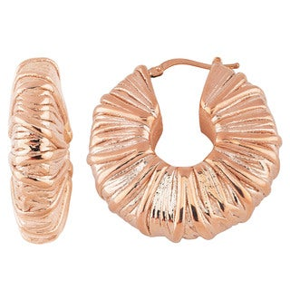 Oro Rosa 18k Rose Goldplated Bronze Striped Textured Round Hoop Earrings