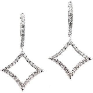 Auriya 14k White Gold 1/2ct TDW Diamond Drop Hoop Earrings (H-I, I1-I2)