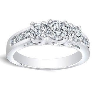 Auriya 14k Gold 1ct TDW Round Diamond 3-stone Engagement Ring (K, I1-I2)
