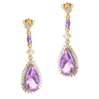 14k Yellow Gold Teardrop Amethyst and Diamond Earrings