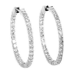 14k White Gold 3 1/4ct TDW Diamond Hoop Earrings (H-I, SI1-SI2)