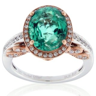 Suzy Levian 14k Two-tone Gold 1 1/2ct TGW Colombian Emerald and Diamond Ring