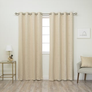Linked Circle 84-inch Foil Printed Blackout Curtain Panel Pair