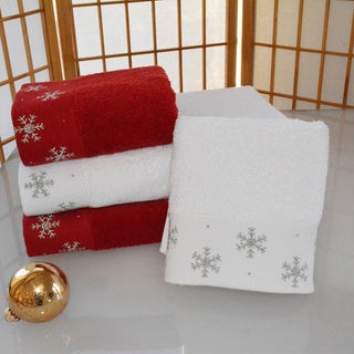 Enchante Snowflakes Embellished Turkish Cotton 2-piece Towel Set