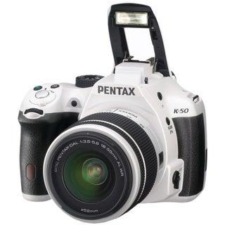 Pentax K50 16MP DSLR Digital Camera Bundle w/ Lens Kit w DA L 18-55 WR- White